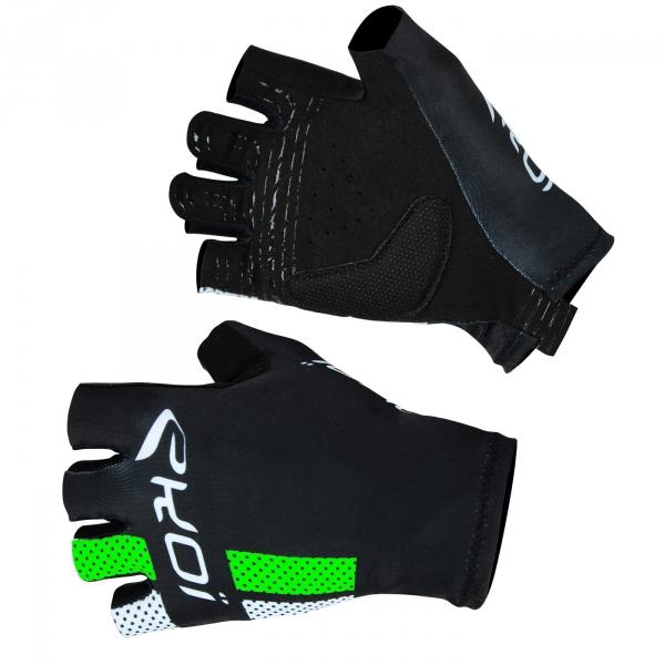 Letní rukavice EKOI COMP10, černá-fluorescenční zelená