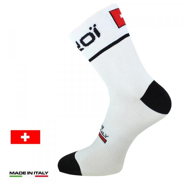 Letní cyklistické ponožky EKOI NATION Bílé - Švýcarsko