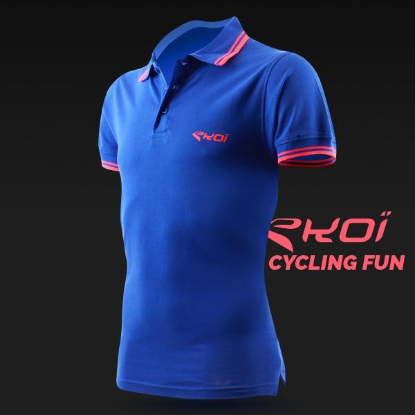 Polo tričko EKOI Cycling Fun Modré