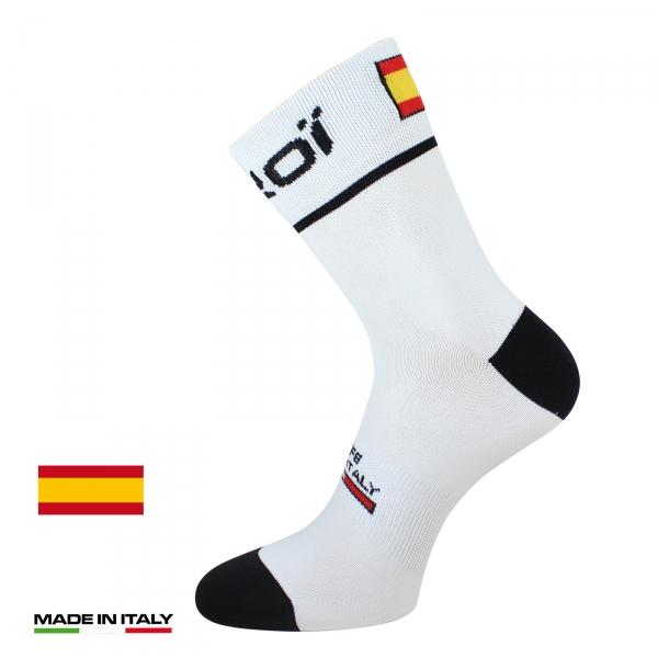 Letní cyklistické ponožky EKOI NATION Bílé Španělsko