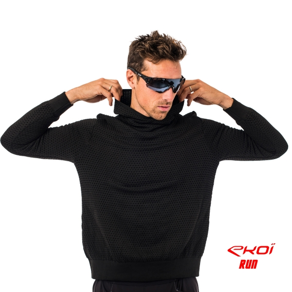 Mikina s kapucí EKOI RUN, Červená / černá