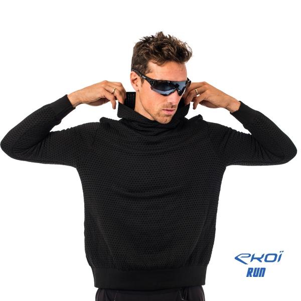 Mikina s kapucí EKOI RUN, Modrá / černá